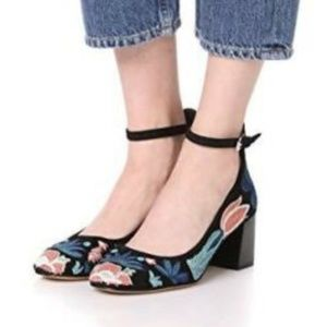 REBVECCA MINKOFF EMBROIDERED ANKLE STRAP HEEL 7.5